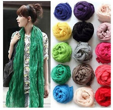 Hot Girl Women Soft Candy Colors Long Crinkle Scarf Wrap Voile Wraps Stole Shawl