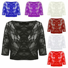 Ladies Womens Floral Lace 3/4 Sleeve Crop Cardigan Bolero Shrug Plus Size 8-22
