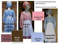 CUSTOM Girl Pioneer prairie bonnet apron peasant dress pick size & color