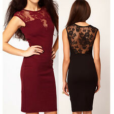 Womens Sexy Lace Sleeveless Backless Bodycon Slim Dress Party Evening Mini Dress