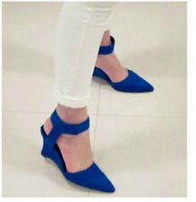 Womens Ladies Chic Faux Suede Ankle Strap Pointed Toe Wedge Pumps COurt Shoes