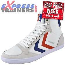 Hummel Mens Slimmer Stadil High Top Classic Retro Trainers White * AUTHENTIC *