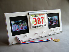 White Sport Medal Display with Photo Frame and Race Bib holder - marathon race