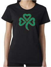 Shamrock MD Rhinestone and Glitter Women's SS T-Shirts Irish St. Patrick's Day