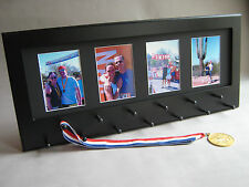 Black Sports medal display w/ photo frame BB4 running soccer wrestling swimming