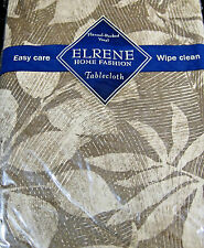"""FLANNEL-BACKED VINYL TABLECLOTHS -""""TONE ON TONE LEAVES-BROWN """" -ASSORTED SIZES"""