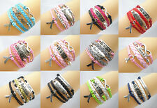 Hot Infinity/Hope/Faith/Breast Cancer Awareness Sign Charms Leather Bracelet