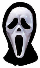 ADULTS HORROR SCREAM GHOST PLASTIC FACE MASK WITH HOOD HALLOWEEN FANCY DRESS