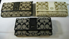 COACH SIGNATURE  TRIFOLD CLUTCH WALLETS - ASST.  COLORS- SUGG. RETAIL $228 -NEW