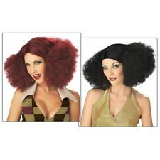 Disco Sensation Costume Wig Adult Womens Red or Black 1970's Afro Poof Style