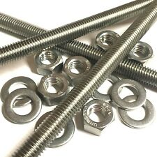 M6 A2 Stainless Threaded Bar - Studs - Studding Rod - With or Without Nuts