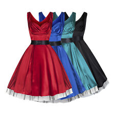 LADIES SILKY SATIN RETRO VINTAGE 50's STYLE COCKTAIL PARTY DRESS 4 COLOURS 8-18