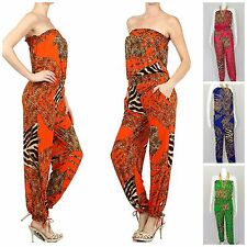 STRAPLESS JUMPSUIT ANIMAL PRINT SUMMER READY SILKY STRETCHY KNIT 4 COLORS!