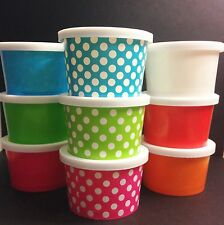 25 - Small 4oz. paper Hot and Cold Cup  WITH LIDS  Ice cream, desserts, treats