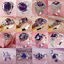 Men's Women's Fashion Amethyst Gemstone Silver Jewelry Ring Size 7 8 9 10