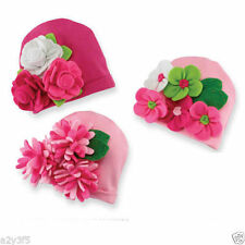 Mud Pie Little Sprout Baby Girl Pink Soft Knit Hat Cap With Felt Flowers 167685