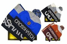 MENS CROSSHATCH MATCHING WINTER XMAS KNIT WOOLY BOBBLE BEANIE HAT SCARF GIFTSET