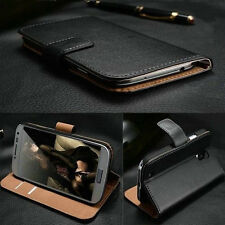 Black Luxury Leather Skin Flip Wallet Case Cover W/Stand For iPhone Samsung Sony