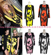 Celebrity Sexy Yellow and Black Bodycon Leaf Print Floral Wiggle Pencil Dress