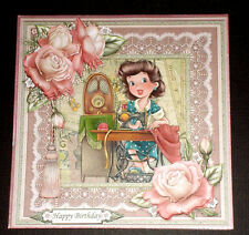 Handmade Greeting Card 3D All Occasion Vintage Style With A Lady Sewing