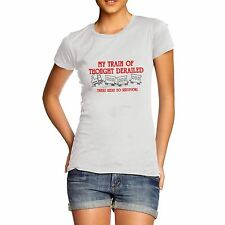 Womens Funny Train Of Thought Comedy Print Tee T-Shirt
