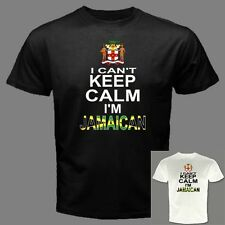CAN'T KEEP CALM I'M JAMAICAN jamaica coat of arms Country Flag funny T-SHIRT KJ2