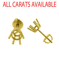 6 Prong Screw Back Basket Stud Earrings Castings 14K Solid Yellow Gold
