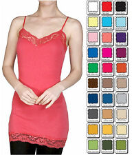 WHIMSY Bozzolo BASIC Long Layering Spaghetti Strap LACE CAMI TANK TOP S,M,L