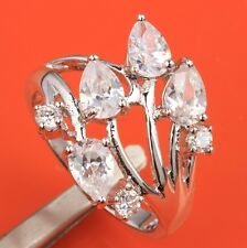 CRAZY White Topaz & Zircon Gemstones Silver Rings US#Size5 6 7 8 9 B6418