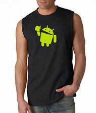 Android Eats Apple Sleeveless Tee-Shirt Nerd/Computer Geek Cell Phone S-2XL