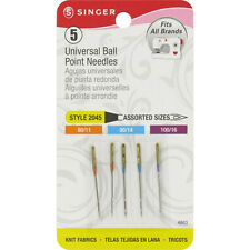 Singer Universal Ball Point Machine Needles Asst Size 80,90,100  5 Pk Style 2045
