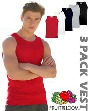 3 Pack Mens Fruit of the Loom Vests Cotton Tank Top Gym Muscle T Shirt Top SALE
