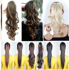 Claw Clip In On Ponytail Pony Tail Hair Extensions straight Wavy wave style 4I1