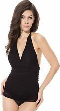One Piece Black Convertible Halter Deep V-Neck Crochet Overlay Skirted Monokini