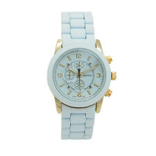 Stainless Steel Outfits Casual Unisex Silicone Men Women Watch White Gold Blue