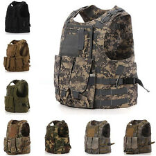 Camo Army SWAT Tactical Assault Military Combat Vest Waistcoat Paintball Pouches