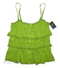 Hollister Womens Ruffle Beach Tank Top Cami Summer Shirt Green by Abercrombie