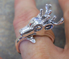 Sterling Silver Deer Ring Lady Hunter Antler Reindeer Size 9 With Gift Box