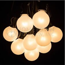 50 Foot Outdoor Globe Patio String Lights - Set of 50 G40 White Pearl Bulbs
