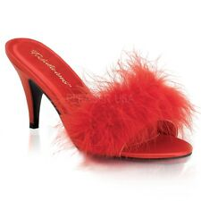 """PLEASER AMO03/R/SAT Sexy 3"""" Heels Red Satin & Feather Evening Bedroom Slippers"""