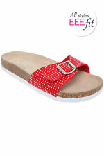 Yoursclothing Womens Plus Size Polka Dot Strap Cork Effect Sandal In A Eee Fit