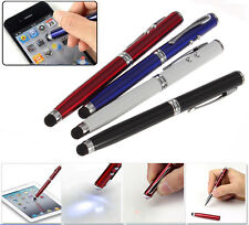 4in1 LED Laser Pointer Torch Touch Screen Stylus Ball Pen for iPhone 4 5 iPad Q