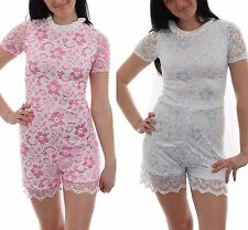 Womens Ladies Celeb Inspired Floral Net With Inner Lining Playsuit Key Hole Back