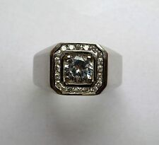 21 Stone Cubic Zirconia Sterling Silver Mens Ring