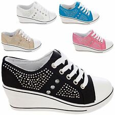 Women's Fashion Silver Diamante Stud Lace Up Low Top Wedge Trainer Shoes