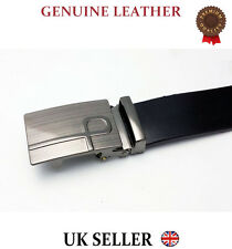 MENS REAL LEATHER AUTOMATIC BUCKLE BUSINESS SUIT TROUSER WAIST BELT FORMAL UK