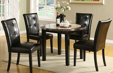 Dining Set Round Dining Table w/ 4 chairs in Black 5pc Dining Room Furniture Set