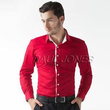 Men Stylish Formal Casual Slim Business Dress Shirt Tops T-Shirt Blouse S M L XL