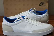 50% OFF NIKE MEN BOYs CANVAS/LEATHER TRAINER SNEAKER WHITE/GREY WITH BLUE ACCENT