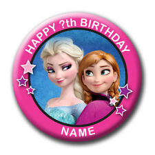 PERSONALISED FROZEN BIRTHDAY BADGES / FRIDGE MAGNETS / MIRRORS - 58MM